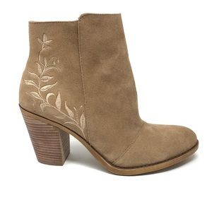 Lucky Brand Elenor tan embroidered booties, size 7
